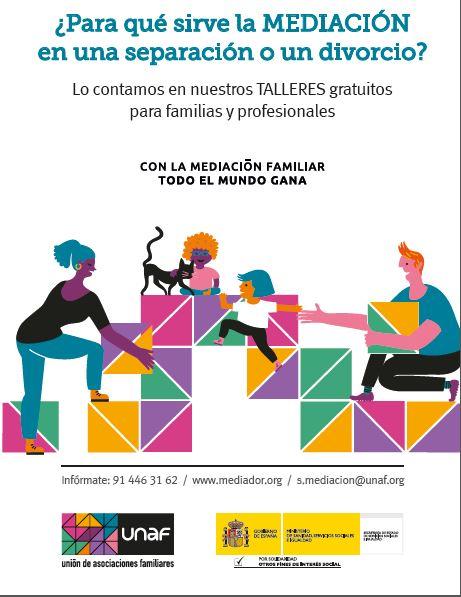 UNAF lanza talleres gratuitos para dar a conocer la mediación familiar a familias y profesionales