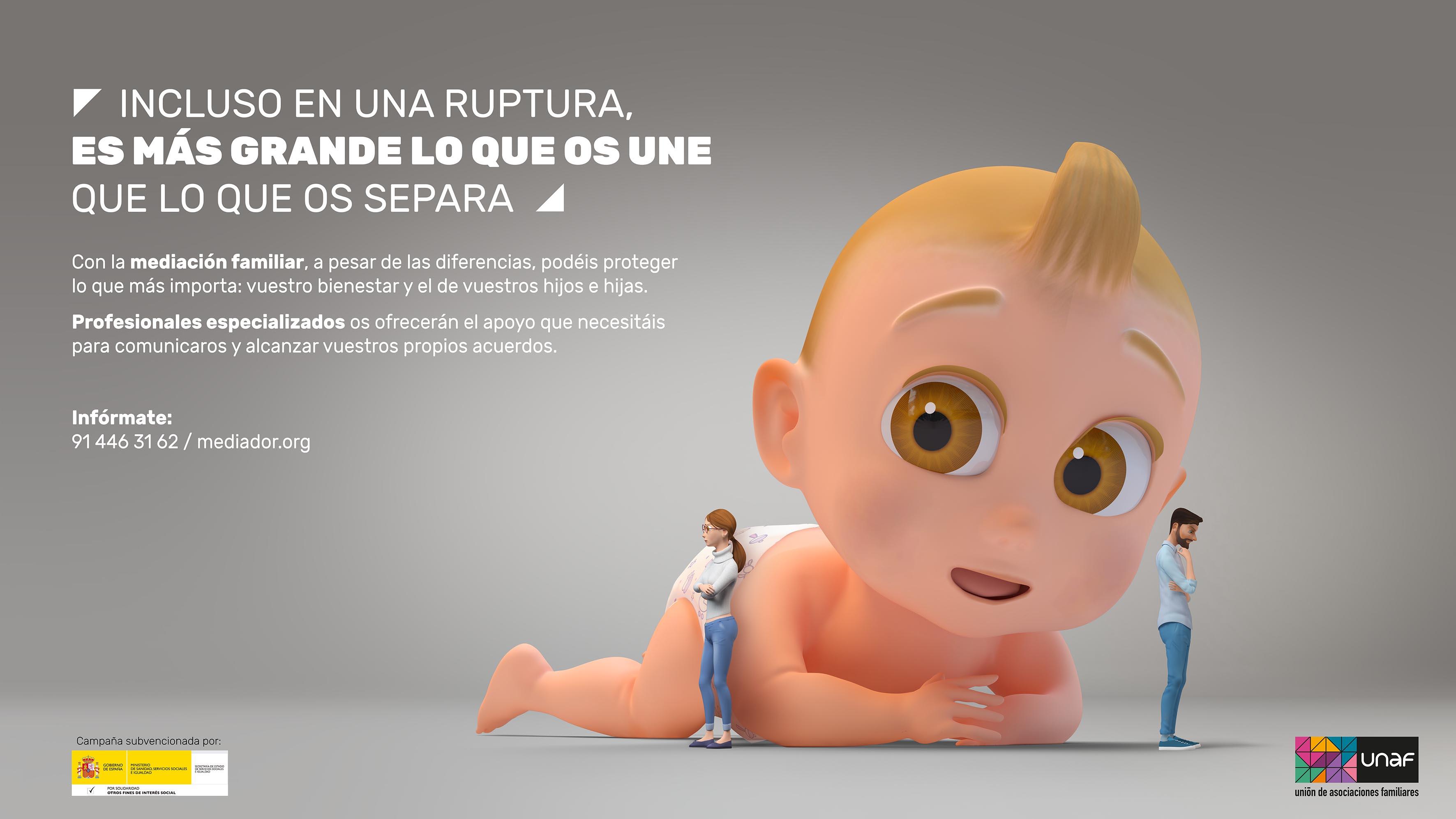 'Es más grande lo que os une que lo que os separa', la nueva campaña de UNAF para promover la mediación familiar en separaciones y divorcios